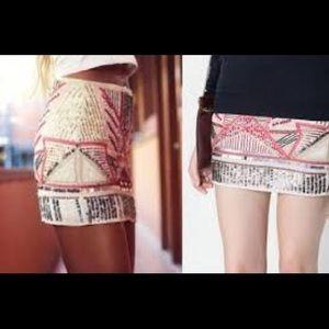 Size small sequins beads Zara mini skirt Teafaluc